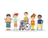 Ειδικά παιδιά αναγκών με τους φίλους ελεύθερη απεικόνιση δικαιώματος