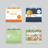 Ειδικές τσάντες πώλησης ή έκπτωσης φθινοπώρου για τον Ιστό ή την τυπωμένη ύλη Στοκ Φωτογραφία