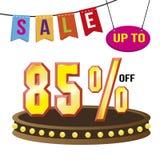 Ειδική απομονωμένη ετικέττα διανυσματική απεικόνιση πώλησης προσφοράς 85% Στοκ Εικόνα