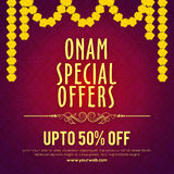 Ειδική αφίσα πώλησης προσφορών Onam, σχέδιο εμβλημάτων Στοκ φωτογραφία με δικαίωμα ελεύθερης χρήσης