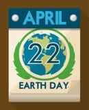Ειδική ημερομηνία στο ημερολόγιο για τον εορτασμό γήινης ημέρας, διανυσματική απεικόνιση Στοκ Εικόνα