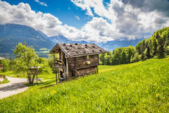 Ειδυλλιακό τοπίο άνοιξη στις Άλπεις με το παραδοσιακό σαλέ βουνών Στοκ Εικόνες