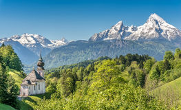 Ειδυλλιακό τοπίο βουνών στις βαυαρικές Άλπεις, έδαφος Berchtesgadener, Γερμανία Στοκ φωτογραφία με δικαίωμα ελεύθερης χρήσης
