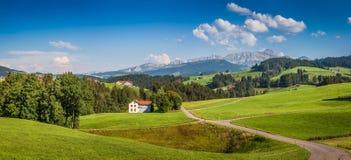 Ειδυλλιακό τοπίο στις Άλπεις, Appenzellerland, Ελβετία Στοκ Φωτογραφίες