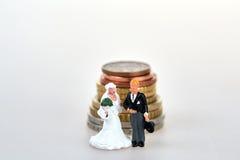 Ειδώλιο γαμήλιων ζευγών και ευρο- σωρός νομισμάτων Στοκ εικόνες με δικαίωμα ελεύθερης χρήσης