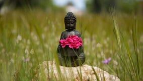 Ειδώλιο του Βούδα με τα κόκκινα λουλούδια στη μέση του πράσινου λιβαδιού φιλμ μικρού μήκους