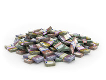 Εκατομμύρια των ευρο- τραπεζογραμματίων που απομονώνονται στο λευκό Στοκ Φωτογραφίες