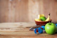 Εκατοστόμετρο μήλων φρούτων διατροφής προγευμάτων Στοκ Εικόνα