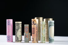 Εκατό αμερικανικά δολάρια και άλλα κυλημένα νόμισμα τραπεζογραμμάτια λογαριασμών, με τα συσσωρευμένα νομίσματα Στοκ φωτογραφία με δικαίωμα ελεύθερης χρήσης