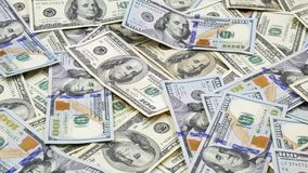 Εκατό αμερικανικά τραπεζογραμμάτια Μετρητά εκατό δολάρια, δολάριο 100 απόθεμα βίντεο