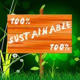 Εκατό τοις εκατό δείχνουν τη βιώσιμα στήριξη και Eco Στοκ φωτογραφίες με δικαίωμα ελεύθερης χρήσης