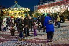 εκδοτικός Kyiv/Ουκρανία - 13 Ιανουαρίου, 2018: Νέα έκθεση έτους ` s στην πλατεία της Sophia Στοκ εικόνες με δικαίωμα ελεύθερης χρήσης
