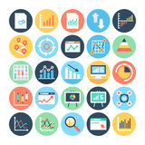 Εκθέσεις και χρωματισμένα Analytics διανυσματικά εικονίδια 5 διανυσματική απεικόνιση