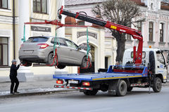 Εκκένωση αυτοκινήτων μετά από το ταξίδι specialtransport Στοκ Εικόνες