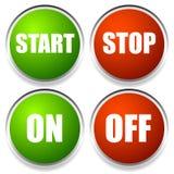 Εκκίνησης-στάσης και on-off κουμπιά Στοκ φωτογραφίες με δικαίωμα ελεύθερης χρήσης