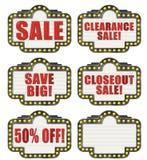 Εκκαθάριση Closeout 50% πώλησης σκηνών από τα εικονίδια Στοκ Εικόνες