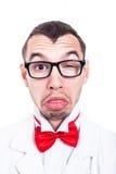 Εκκεντρικό πρόσωπο εργαστηρίων geek Στοκ Εικόνες