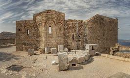 Εκκλησία ακρόπολη της Ρόδου Lindos Αγίου John στοκ φωτογραφία με δικαίωμα ελεύθερης χρήσης