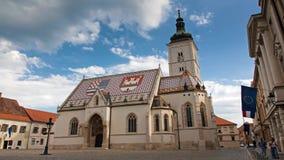 Εκκλησία σημαδιών Αγίου στο Ζάγκρεμπ, Κροατία - timelapse φιλμ μικρού μήκους