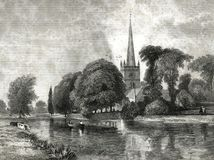 Εκκλησία στη θέση ενταφιασμών Stratford της απεικόνισης Shakespeare ελεύθερη απεικόνιση δικαιώματος