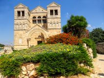 Εκκλησία της μεταμόρφωσης στο υποστήριγμα Tabor στο Ισραήλ Στοκ Φωτογραφία