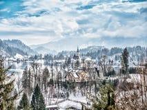 Εκκλησία του ST Mary στο αιμορραγημένο νησί, Σλοβενία Στοκ φωτογραφίες με δικαίωμα ελεύθερης χρήσης
