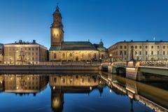Εκκλησία Christinae που απεικονίζει στο νερό στο Γκέτεμπουργκ, Σουηδία Στοκ Φωτογραφία