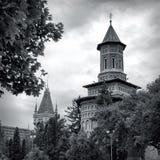 Εκκλησία Αγίου Nicolae και παλάτι πολιτισμού Στοκ Φωτογραφία