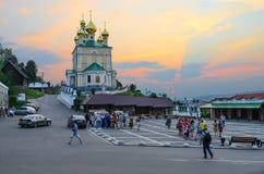 Εκκλησία αναζοωγόνησης στο ηλιοβασίλεμα, Ples, Ρωσία Στοκ Φωτογραφία