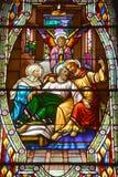 Εκκλησία λεκιασμένου του Άγιος-Leon-de-Westmount παραθύρου γυαλιού Στοκ Εικόνα