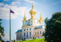 Εκκλησία δικαστηρίου του μεγάλου παλατιού, Peterhof Στοκ φωτογραφία με δικαίωμα ελεύθερης χρήσης