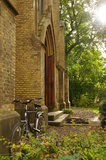 Εκκλησία και ποδήλατο, Σουηδία Στοκ Φωτογραφία