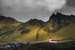 Εκκλησία κοντά Vic, Ισλανδία Στοκ εικόνα με δικαίωμα ελεύθερης χρήσης