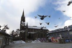 Εκκλησία με τα περιστέρια Στοκ φωτογραφίες με δικαίωμα ελεύθερης χρήσης