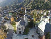 Εκκλησία σε Chamonix άνωθεν Στοκ φωτογραφία με δικαίωμα ελεύθερης χρήσης