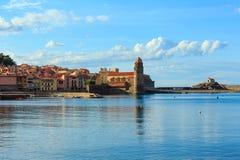 Εκκλησία στην ακτή, Collioure, Γαλλία Στοκ Εικόνα