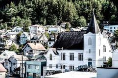 Εκκλησία στην πόλη των νερών της Αλάσκας Στοκ Εικόνα