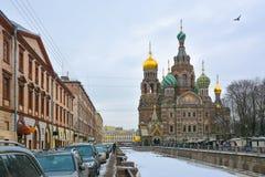 Εκκλησία της αναζοωγόνησης Χριστού στη Αγία Πετρούπολη το χειμώνα Στοκ εικόνα με δικαίωμα ελεύθερης χρήσης