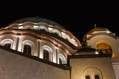 Εκκλησία της λεπτομέρειας Αγίου Sava τη νύχτα Στοκ φωτογραφία με δικαίωμα ελεύθερης χρήσης
