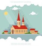 Εκκλησία τοπίων στο υπόβαθρο της πόλης Επίπεδο διανυσματικό illu Στοκ Εικόνες