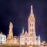 Εκκλησία του Matthias και άγαλμα της ιερής τριάδας στη Βουδαπέστη, Ουγγαρία στοκ εικόνα