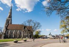 Εκκλησία του ST Alban και πηγή Gefion Στοκ Φωτογραφίες