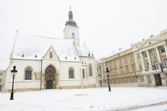 Εκκλησία των σημαδιών του ST στο Ζάγκρεμπ, Κροατία Στοκ φωτογραφίες με δικαίωμα ελεύθερης χρήσης