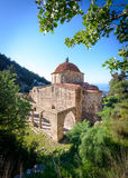 Εκκλησία τόνου Panayia katharon στα βουνά kyrenia, βόρεια Κύπρος Στοκ Εικόνες