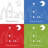 Εκκλησία Χριστουγέννων doodle Στοκ Εικόνες