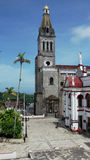 Εκκλησία Cuetzalan και κύριο τετράγωνο Στοκ εικόνα με δικαίωμα ελεύθερης χρήσης