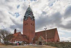 Εκκλησία Masthugget στο υπόβαθρο των σύννεφων Στοκ Φωτογραφία