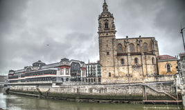 Εκκλησία SAN Anton και αγορά Λα Ribera Στοκ Φωτογραφίες