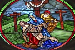 Εκκλησία SAN Miguel de Allende Μεξικό Parroquia γυαλιού του Ιησού Mary Stained Pieta Στοκ εικόνες με δικαίωμα ελεύθερης χρήσης