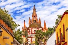 Εκκλησία SAN Miguel de Allende Μεξικό Parroquia οδών Aldama Στοκ Εικόνες